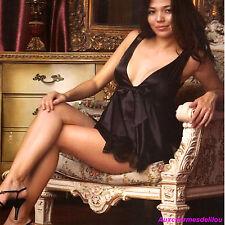 LINGERIE ENSEMBLE NUISETTE BABYDOLL string satin SOUS VETEMENT FEMME SEXY T38