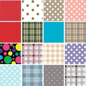Vinyl PVC Tablecloth Easy Wipe Clean Polka Dots Spots, Plains, Ginghams & Stars