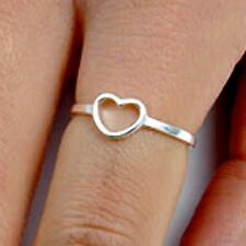 .925 Sterling Silver Ring size 9 Heart Midi Knuckle Thumb Fashion Ladies New p56