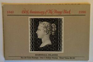 Marshall Islands Stamps 1990 Scott #376 Booklet Pane MNH 150th Anniv Penny Black