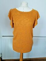 Ladies Next Orange Knit Short Sleeve Top Size 12 Stretch