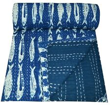 King Size Handmade Cotton Block Indigo Fish Print Kantha Quilt Reversible Throw