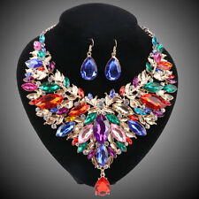 Women Gold Plated Colorful Rhinestone Crystal Necklace Earring Jewelry Sets