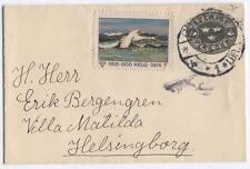 Cover H43 Sweden 1913 used Helsinborg bird