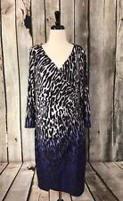 Coast Women's 10 Dress Rochella Animal Print Ombre Faux Wrap Ruched V Neck Lined