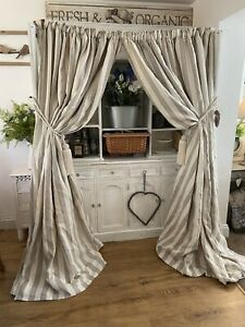 Designer Quality LINEN Grey Ivory Stripe INTERLINED Large Curtains Shabby Chic