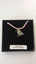 B20 permanente Woodcock Adorno Peltre penden de un rosa Cable Collar Hecho A Mano