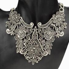 Vintage Tibetan Silver Bib Party Statement Gothic Chain Choker Pendant Necklace