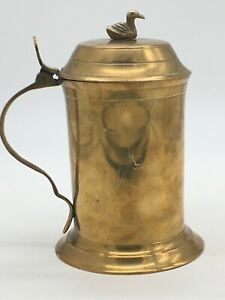 """Vintage Solid Brass 7"""" Tankard/Mug/Stein  With Duck Lid COS play prop ✨EXC"""