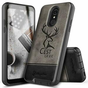 For LG Q7 / Q7 Plus Case Shockproof Dual Layer Leather Hybrid Phone Cover