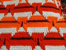 Aztec Navajo crocheted afghan throw  '' 75 x 46 Orange / White  BRAND NEW