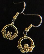 Claddagh Earrings 24 Karat Gold Plate Irish Wedding Symbol Crown Heart in Hands