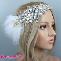 1920s Headband Feather White Bridal Great Gatsby 20s Flapper Headpiece Gangster