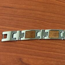 "Stainless Steel Inlaid Koa Wood Mans Bracelet 8.5"""