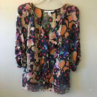 dvf diane von furstenberg blouse 4 multi color silk v-neck top w/ cami - size 4