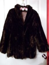 Size 8 10 Ladies Coats Womans Girls Brown Faux or Real Fur Coat Wedding Clothes