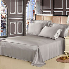 4 Pieces Satin Sheet Set King Size Silver Gray Silk Soft Polyester NEW