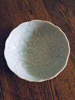 Vtg Fitz and Floyd Bowl blue flower  Japan scalloped edge ceramic raised detail