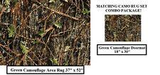 COMBO! CAMO RUG SET - Green Camouflage AREA Rug 37x52  & MATCHING Doormat 18x30