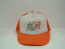 vintage  orange mesh snapback trucker hat a hunter will do anything for a buck