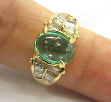 Vert Bague Émeraude & Diamant 18Kt or Jaune 4.50Ct Ajustable