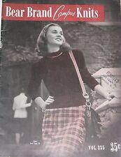 Vintage 1940s Bear Brand Knitting Pattern Book Women's CAMPUS KNITS Vol. 335