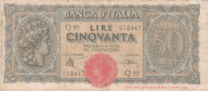 50 LIRE VG NOTE FROM ITALY 1943  PICK-67