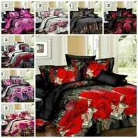 3D Complete Duvet Cover set Quilt Cover Fitted Sheet & 2 Pillowcases Bedding Set