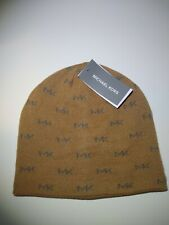 MICHAEL KORS beanie  MK REPEAT LOGO KNIT BEANIE, CAMEL  - ONE SIZE