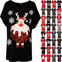 Women Ladies Baggy Oversize Reindeer Pudding Batwing Xmas Christmas T Shirt Top