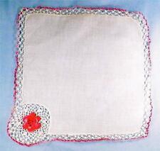 Crocheted Pink Flower Hankie Handkerchief Linen Valentine's Day Vintage Retro