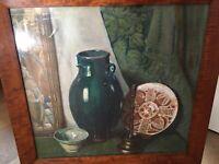 Peinture Gouache Papier Encadrée Albert Jarach 1955 Nature Morte Vierge Signée