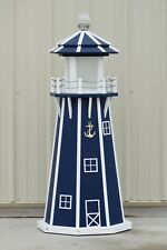 4' Octagon Electric and Solar Powered Poly Lighthouse (Patriot Blue/white trim)