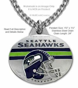 SEATTLE SEAHAWKS NECKLACE STAINLESS STEEL CHAIN - NFL FOOTBALL - FREE SHIP #LG0'