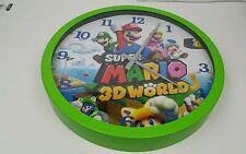 Custom Super Mario Brothers Nintendo 3D World Neon Green Clock 17.5 in Free S+H