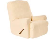 SureFit Stretch Pinstripe 1-Piece - Recliner Slipcover - Cream