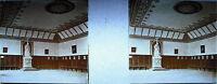 Plaque photo stéréoscopique photographie intérieur d'église en Italie vers 1930