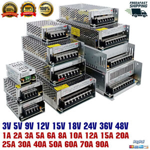 Regulated SMPS Switching Power Supply Universal PSU CCTV AC To DC 3V-48V 1A-90A
