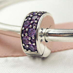Authentic 925 Sterling Silver Shining Elegance Purple CZ Clip ANYWHERE Charm