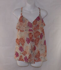 Elle Ladies Floral Print Ruffled Spaghetti Strap Top - Small