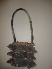 Mary Francis Light Grey Velvet Tiered Pearl Beads Handbag Purse CuTe