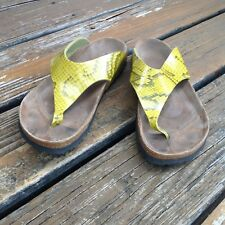 Birkenstock Birkis Yellow Snake Leather Slip On Sandals Womens 9 Mens 7 40 Shoes
