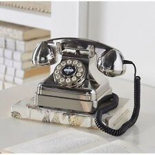 Chrome Vintage Phone Retro Telephone Silver Rotary Push Button Desk Home Office