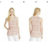 Joie Womens Size Medium 100% Silk Alena Ikat Sleeveless Ruffled Blouse Top