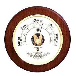 """Barometer with Thermometer on 5"""" Cherry Wood with Brass Bezel."""