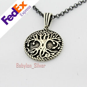 Tree Of Live 925 Sterling Silver Turkish Handmade Men's Necklace Pendant Chain