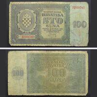 1941 WWII Croatia NDH 100 Kuna Paper Money Banknote German Nazi Occupation