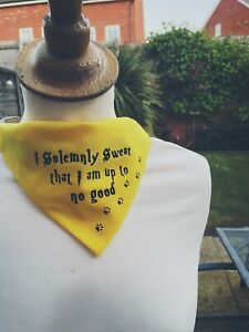 I solemnly Swear that I am up to no good Dog Bandana Harry Potter Yellow Black