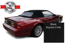 Camaro & Firebird Convertible Top With Plastic Window & Video, Black Cloth 87-89