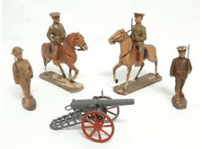 Vintage 1920's Elastolin Soldiers, Horses And Cannon -  7 Pieces
